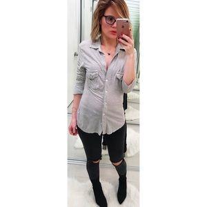 James Perse Heather Grey Soft Stripe Jersey Shirt